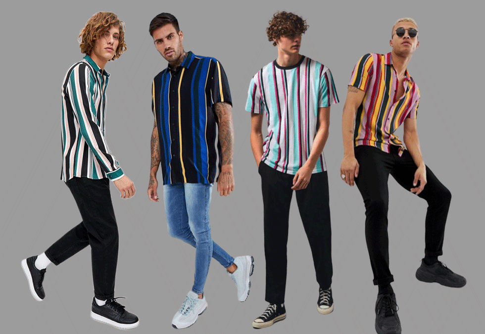 four-stylish-men-wearing-all-types-of-vertical-stripe-shirts-in-contrasting-colors